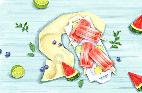 夏天冰棍水果背景图片