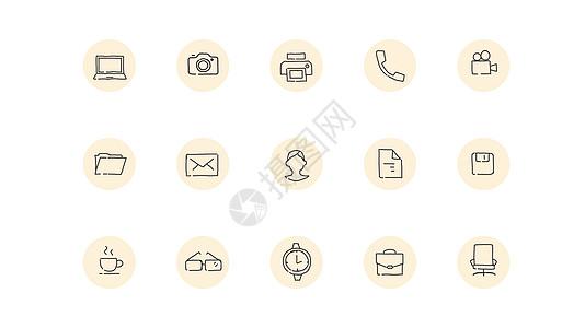 手绘线性商务办公小图标图片