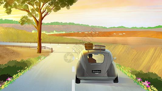 旅行车在路上图片