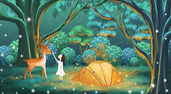 林中露营的女孩儿图片