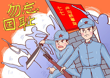七七卢沟桥事变漫画图片