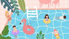 大暑节气夏天泳池插画图片