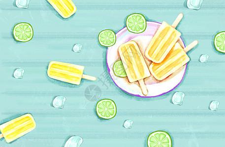 夏季清新柠檬背景图片