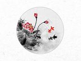 金鱼和荷花中国风水墨画图片