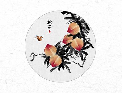 桃子中国风水墨画高清图片