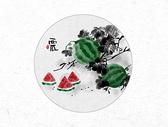 西瓜中国风水墨画图片