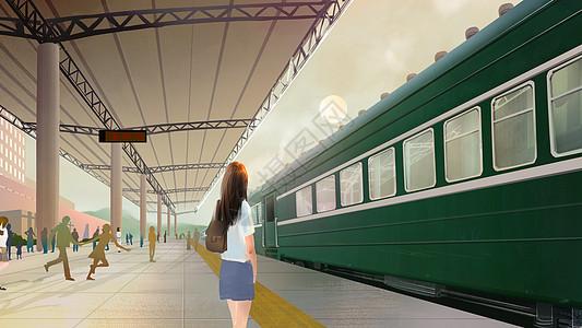 踏上旅途的火车站图片