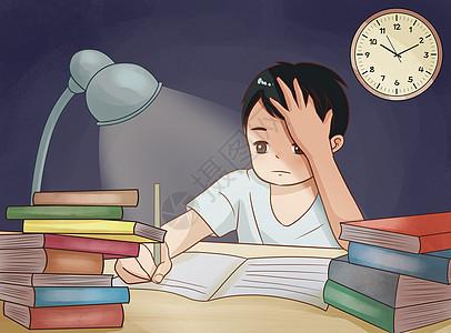 熬夜写作业的孩子图片