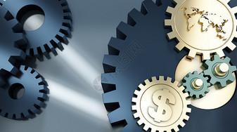 世界经济转动齿轮图片