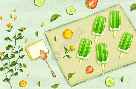 夏季清凉冰棍背景图片