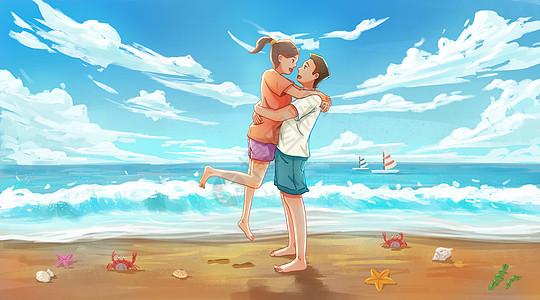 海边度假的情侣图片