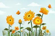 清新向日葵花卉插画图片
