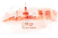 华沙水彩手绘插画图片