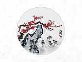 梅花与小鸡中国风水墨画图片