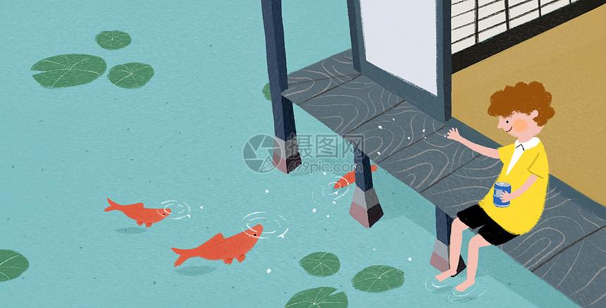 池塘边喂鱼图片