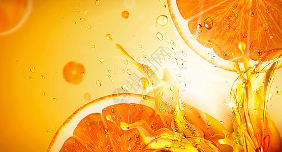 清凉橙汁背景图片