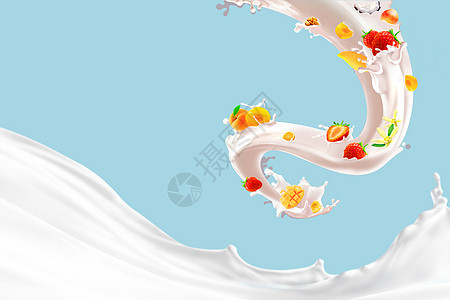 牛奶水果组合图片