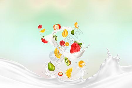 水果牛奶组合图片