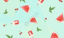 小清新夏季西瓜背景图片