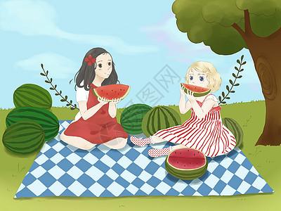 夏天女孩野餐吃西瓜插画图片