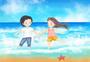 手绘情侣海边旅游插画图片