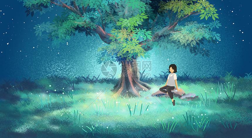 树底下的女孩儿图片