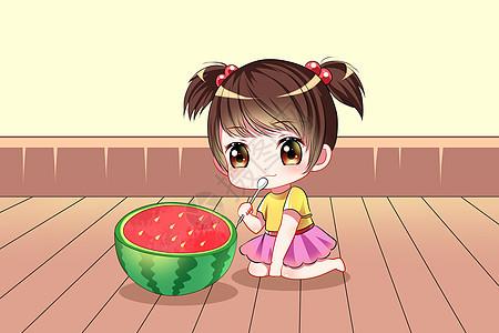 夏日吃西瓜女孩图片