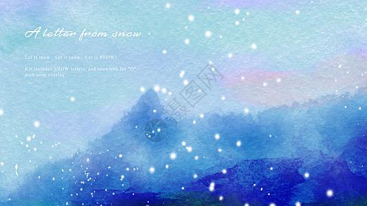 雪山水彩抽象背景图图片