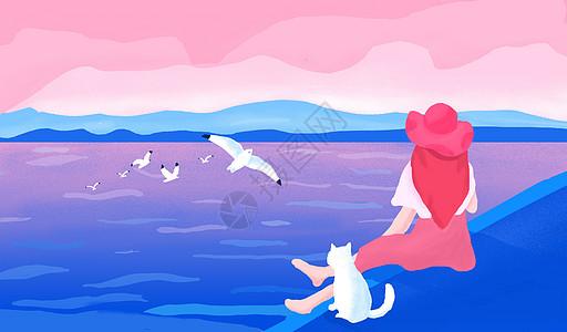 旅行背影女孩插画图片