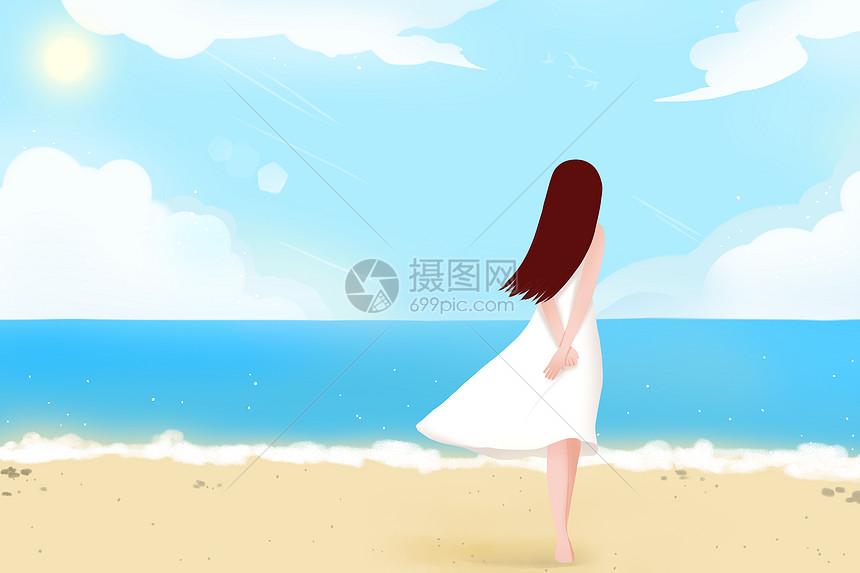 女孩海边度假图片