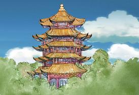 黄鹤楼水彩手绘图片