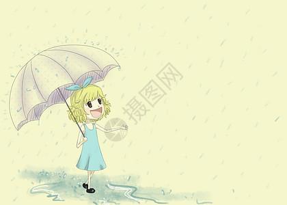 下雨天撑伞的小女孩图片