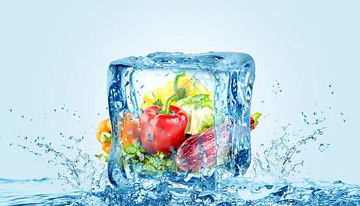 创意清凉冰块蔬菜冷藏保鲜图片