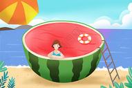小暑度假海边游泳图片