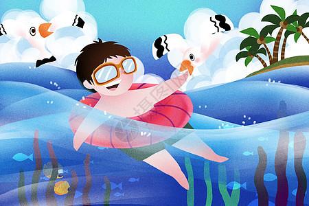 大海游泳旅行图片