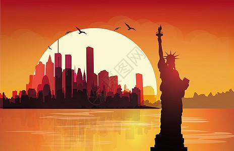 美国自由女神建筑剪影图片