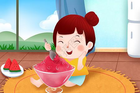 女孩夏天吃沙冰图片