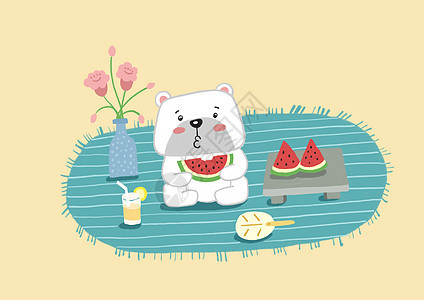 夏天小熊吃西瓜插画手绘图片