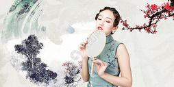 旗袍美女水墨风图片