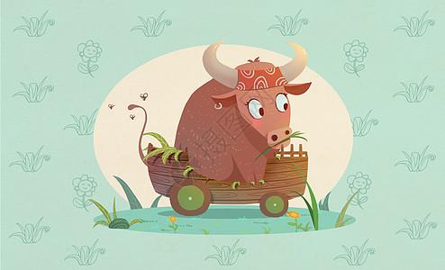 十二生肖旅行插画之丑牛图片