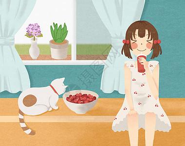 吃樱桃图片