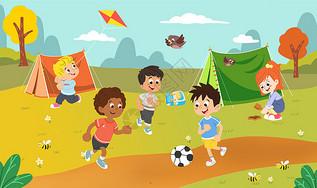 夏令营小朋友户外运动图片