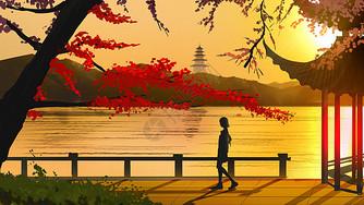 夕阳湖畔图片
