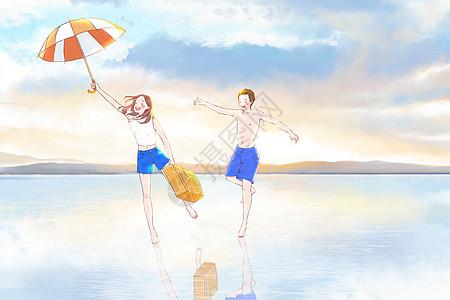 在海边一起旅行奔跑图片