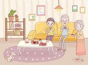 老少同堂快乐一家人图片