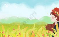 草原上的女孩背景图片