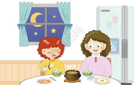 和妈妈一起吃饭图片