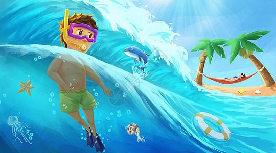 夏日海边游泳度假图片