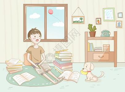 作业很多的孩子图片