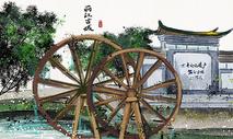 丽江古城水墨画图片